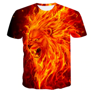 New king of beasts fire lion blue red t shirt men's and women's