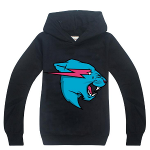 Boys Long Sleeve hooded tshirt Mr Beast Esports Leopard head 3D Print Hoodi