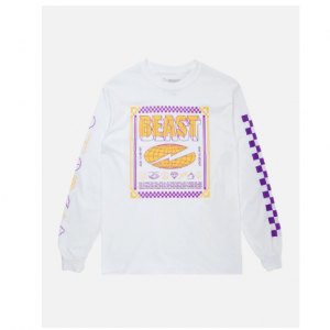 CHECKERED BEAST' LONG SLEEVE TEE - WHITE