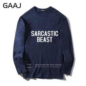 "T Shirt Men GAAJ ""sarcastic beast"" Print Letter Casual Funny Man & Women Unisex Long Sleeve Man T Shirt Men GAAJ ""sarcastic beast"" Print Letter Casual Funny Man & Women Unisex Long Sleeve Man"